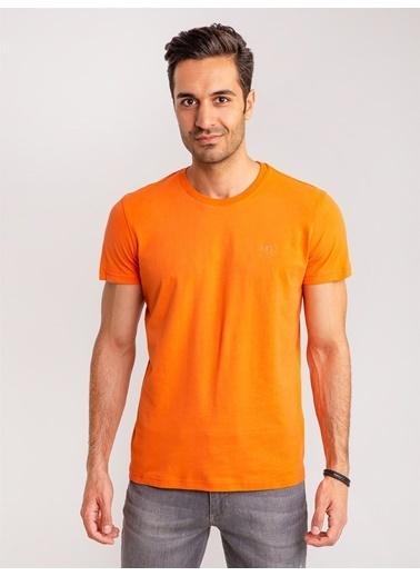 Dufy Mıntı Pamuklu Firçali Süprem Erkek T-Shirt - Slim Fit Oranj